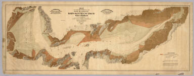 Map exhibiting the salt marsh, tide and submerged lands disposed of by the State of California in and adjacent to the bays of San Francisco and San Pablo and now subject to reclamation. Prepared from maps of the U.S. Coast Survey & official records by order of the Board of State Harbor Commissioners for the United States Commissioners on San Francisco Harbor. By T.J. Arnold, engineer of the sea wall. 1874. U.S. Commissioners Rear Admiral John Rodgers, Major G.H. Mendell, Prof. George Davidson. State Harbor Commissioners Samuel Soule, T.D. Mathewson, D.C. McRuer. Britton Rey & Co. Lith. S.F.