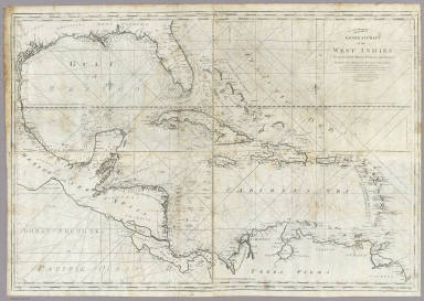 A new general chart of the West Indies from the latest marine journals and surveys. Regulated and ascertained by astrological observations. I the subscriber do certify that I have carefully examined this chart copied from a London publication agreeable to Act of Parliament and find it a true and accurate copy of the original. Osgood Carleton. Teacher of Navigation and other Branches of the Mathematics. Boston, Decr. 28, 1789. Printed & Sold by W. Norman N. 13 Newbury Str.