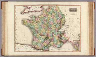 France. (with inset map) Island of Corsica. Drawn under the direction of Mr. Pinkerton by L. Hebert. Neele sculpt. 352 Strand. London: published 1st March 1809 by Cadell & Davies, Strand & Longman, Hurst, Rees, Orme, & Brown, Paternoster Row.