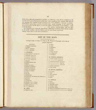 (Index to) A modern atlas, from the latest and best authorities, exhibiting the various divisions of the world, with its chief empires, kingdoms and states, in sixty maps, carefully reduced from the largest and most authentic sources. Directed and superintended by John Pinkerton, author of Modern geography, &c. London: Printed by T. Bensley, Bolt Court, Fleet Street, for T. Cadell and W. Davies, Strand, and Longman, Hurst, Rees, Orme, And Brown, Paternoster Row. 1815.