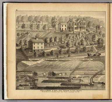 John A. Wood & Son, coal harbor & tow boats ...(with) Residence of John A. Wood, Mount Pleasant ... Allegheny County, Pa. / Hayes, Eli L. / 1877