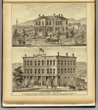 Residence of J.H. McCreery ... Sewickly, Pa. (with) Dougherty Block, Steubenville, Ohio. / Hayes, Eli L. / 1877