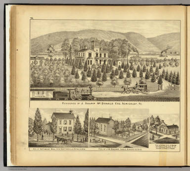 Residence of J. Sharp McDonald ... Sewickley, Pa. (with residences of) Septimius Hall, New Martinsville, W. Va.; J.M. Goodwin, Sardis, Ohio; E.A. Barr, Sisterville, W. Va. / Hayes, Eli L. / 1877