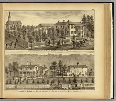 Residence of Steffler and Clark, Rochester, Pa. (with) Residence of Samuel Fitz Simons ... Leet Tw'p, Fair Oak Station, Allegheny Co., Pa. / Hayes, Eli L. / 1877