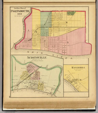 Outline plan of Portsmouth, Ohio. (with) Sciotoville, Haverhill, Ohio. / Hayes, Eli L. / 1877