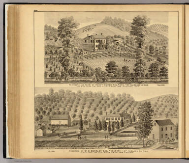 Residence and farm of Henry Kober, Pierce Tw'p. (with) Residence of W.H. Markley, Anderson Tw'p., Ohio. / Hayes, Eli L. / 1877