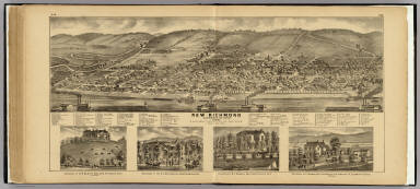 New Richmond, Clermont Co., Ohio. (with residences of) O.R. Elstun, R.A. Mollyneaux, P.J. Nichols, New Richmond, Ohio; F. Fridman, Clermontville, Ohio. / Ruger, A. ; Hayes, Eli L. / 1877