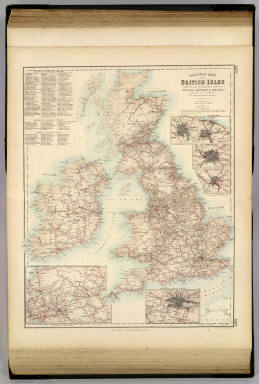 Railway Map of the British Isles exhibiting all the railways & canals in England, Scotland & Ireland completed or in progress with their respective stations. By J. Bartholomew Junr. Edinr. F.R.G.S. XXIV. (with) six inset maps: Enlarged Section of the South Yorkshire and Lancashire Districts, Railways Around London, Birmingham, Manchester, Edinburgh, Glasgow. Engraved by J. Bartholomew, Edinr. A. Fullarton & Co. Edinburgh, London & Dublin.