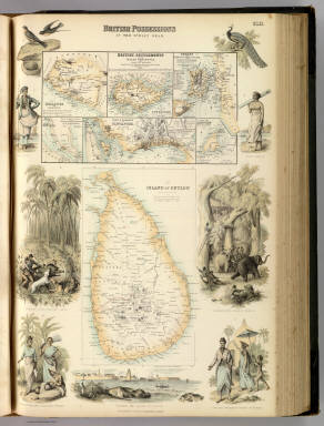 British Possessions In The Indian Seas. (with) I. British Settlements in the Malay Peninsula and Coast of Borneo. Compiled from the Admiralty and various other Surveys by J. Bartholomew Junr. Edinr. II. Island of Ceylon. By G.H. Swanston Edinr. XLII. A. Fullarton & Co. London, Edinburgh & Dublin.
