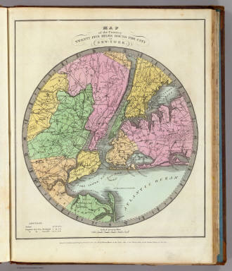 Map of the Country Twenty Five Miles Round The City Of New-York. / Burr, David H., 1803-1875 / 1835
