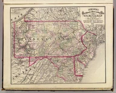Cram's Rail Road & Township Map of Pa. Md. N.J. & Del. Published by Geo. F. Cram. Proprietor of the Western Map Depot. 66, Lake St. Chicago Ills. 1875.