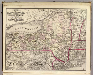 Cram's Rail Road & Township Map of New York. Published by Geo. F. Cram. Proprietor of the Western Map Depot. 66, Lake St. Chicago Ills. 1875.