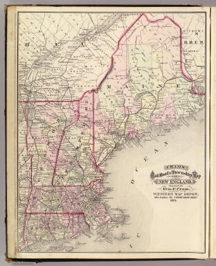 Cram's Rail Road & Township Map of New England. Published by Geo. F. Cram. Proprietor of the Western Map Depot. 66, Lake St. Chicago Ills. 1875.