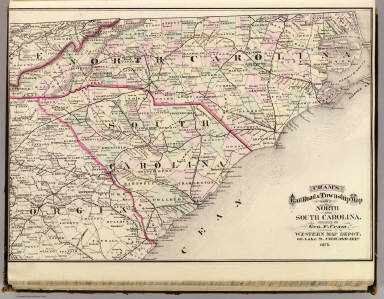 Cram's Rail Road & Township Map of North and South Carolina. Published by Geo. F. Cram. Proprietor of the Western Map Depot. 66, Lake St. Chicago Ills. 1875.