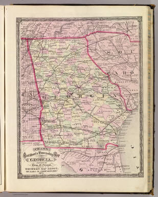 Cram's Rail Road & Township Map of Georgia. Published by Geo. F. Cram. Proprietor of the Western Map Depot. 66, Lake St. Chicago Ills. 1875.