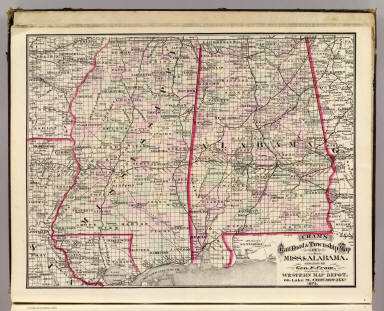Cram's Rail Road & Township Map of Miss. & Alabama. Published by Geo. F. Cram. Proprietor of the Western Map Depot. 66, Lake St. Chicago Ills. 1875.