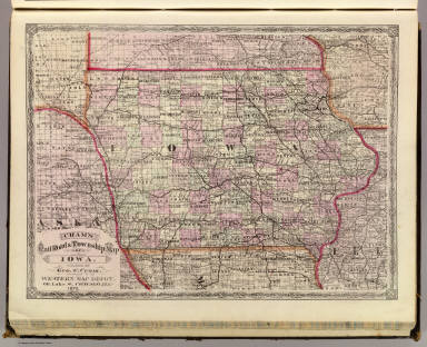 Cram's Rail Road & Township Map of Iowa. Published by Geo. F. Cram. Proprietor of the Western Map Depot. 66, Lake St. Chicago Ills. 1875.