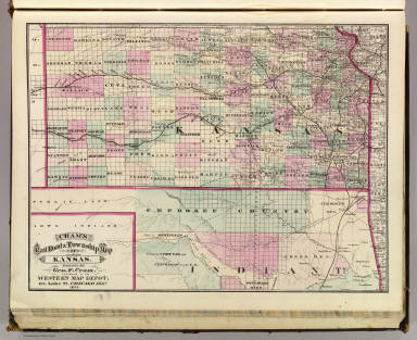 Cram's Rail Road & Township Map of Kansas. Published by Geo. F. Cram. Proprietor of the Western Map Depot. 66, Lake St. Chicago Ills. 1875.