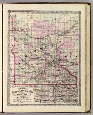 Cram's Rail Road & Township Map of Minnesota. Published by Geo. F. Cram. Proprietor of the Western Map Depot. 66, Lake St. Chicago Ills. 1875.
