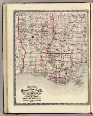Cram's Rail Road & Township Map of Louisiana. Published by Geo. F. Cram. Proprietor of the Western Map Depot. 66, Lake St. Chicago Ills. 1875.