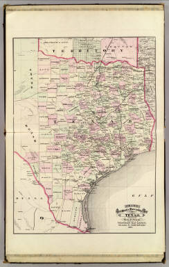 Cram's Rail Road & Township Map of Texas. Published by Geo. F. Cram. Proprietor of the Western Map Depot. 66, Lake St. Chicago Ills. 1875.