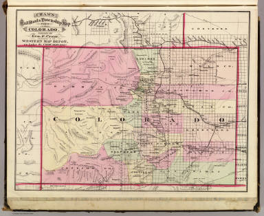 Cram's Rail Road & Township Map of Colorado. Published by Geo. F. Cram. Proprietor of the Western Map Depot. 66, Lake St. Chicago Ills. 1875.