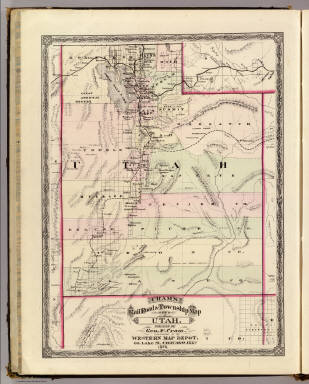 Cram's Rail Road & Township Map of Utah. Published by Geo. F. Cram. Proprietor of the Western Map Depot. 66, Lake St. Chicago Ills. 1875.