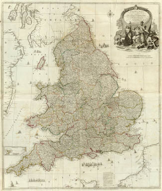 (Composite of) England and Wales, drawn from the most accurate surveys containing all the cities, boroughs, market towns & villages, in which are included all the improvements and observations both astronomical and topographical, which have been made by members of the Royal Society & others. Down to the present year, the whole corected & improv'd by John Rocque, Chorographer to his Majesty. London, printed for Robt. Sayer, Map & Printseller at the Golden Buck in Fleet Street, (1790?)
