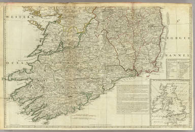 (A map of the Kingdom of Ireland, divided into provinces, counties and baronies. Southern section. Shewing the archbishopricks, bishopricks, cities, boroughs, market towns, villages, barracks, mountains, lakes, bays, rivers, bridges, ferries, passes, also the great, the branch & the by post roads together with the inland navigation, by J. Rocque, Chorographer to His Majesty). London, printed for Robt. Sayer, opposite Fetter Lane, Fleet Street, (1790?)