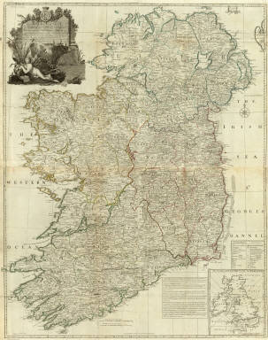 (Composite map) A map of the Kingdom of Ireland, divided into provinces, counties and baronies. Southern section. Shewing the archbishopricks, bishopricks, cities, boroughs, market towns, villages, barracks, mountains, lakes, bays, rivers, bridges, ferries, passes, also the great, the branch & the by post roads together with the inland navigation, by J. Rocque, Chorographer to His Majesty. London, printed for Robt. Sayer, opposite Fetter Lane, Fleet Street, (1790?)