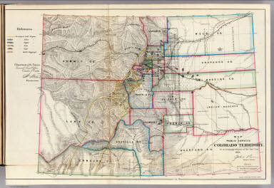 Map of Public Surveys in Colorado Territory. to accompany report of the Surr. Genl. 1866. Department of the Interior, General Land Office, October 2nd 1866. Jo. S. Wilson, Commissioner. The Major & Knapp Engraving, Manuf. & Lithographic Company, 71 Broadway, New York.