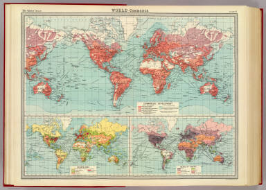 """World - commerce. Commercial development. (with) Occupations. (with) Means of traffic. The Edinburgh Geographical Institute, John Bartholomew & Son, Ltd. """"The Times"""" atlas. (London: The Times, 1922)"""