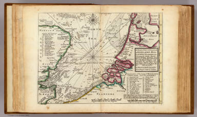A chart of part of ye sea coast of England, Holland & Flanders &c. Shewing the sands, banks, depth of water, bearing, and the course of the principal tracts from the River Thames, and Harwich, &c. to ye Texel, Helevoet Sluys, Ostend, Calais, and their distances in English miles, with remarks. By Herman Moll Geographer, according to Capt. G. Collins. (Printed and sold by T. Bowles next ye Chapter House in St. Pauls Churchyard, & I. Bowles at ye Black Horse in Cornhill. 1736?)