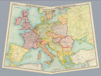 """(Composite of) Western, Eastern Europe - communications. The Edinburgh Geographical Institute, John Bartholomew & Son, Ltd. """"The Times"""" atlas. (London: The Times, 1922)"""