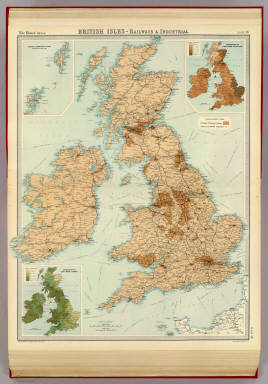 """British Isles - railways & industrial. (with) Distribution of land under cultivation. (with) Distribution of land under pasture. The Edinburgh Geographical Institute, John Bartholomew & Co. """"The Times"""" atlas. (London: The Times, 1922)"""