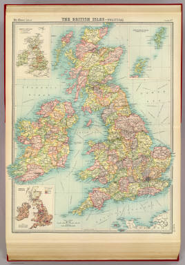 """British Isles - political. (with) Industrial sketch map. (with) Density of population. The Edinburgh Geographical Institute, John Bartholomew & Co. """"The Times"""" atlas. (London: The Times, 1922)"""