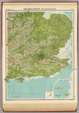 """England & Wales - south-eastern section. (with) Channel Islands on the same scale. The Edinburgh Geographical Institute, John Bartholomew & Co. """"The Times"""" atlas. (London: The Times, 1922)"""