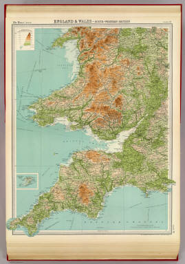 """England & Wales - south-western section. (with) Scilly Isles. The Edinburgh Geographical Institute, John Bartholomew & Co. """"The Times"""" atlas. (London: The Times, 1922)"""