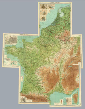 """(Composite of) Section maps of France, Belgium & Holland on scale of 1:1,000,000. The Edinburgh Geographical Institute, John Bartholomew & Co. """"The Times"""" atlas. (London: The Times, 1922)"""