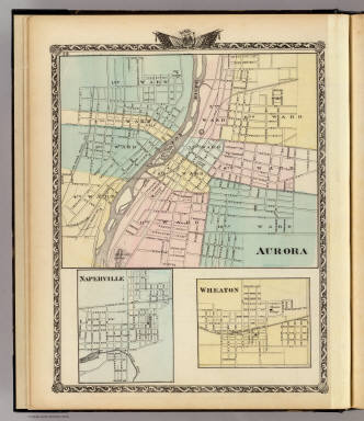 Aurora. (with) Naperville. (with) Wheaton. (Union Atlas Co., Warner & Beers, Proprietors. Lakeside Building Cor: of Clark & Adams Sts. Chicago. 1876. Entered ... 1876 by Warner & Beers ... Washington D.C.)