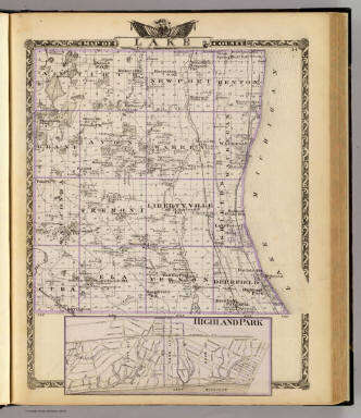 Map of Lake County. (with) Highland Park). (Union Atlas Co., Warner & Beers, Proprietors. Lakeside Building Cor: of Clark & Adams Sts. Chicago. 1876. Entered ... 1876 by Warner & Beers ... Washington D.C.)
