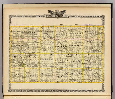 Map of Boone and McHenry counties. (Union Atlas Co., Warner & Beers, Proprietors. Lakeside Building Cor: of Clark & Adams Sts. Chicago. 1876. Entered ... 1876 by Warner & Beers ... Washington D.C.)