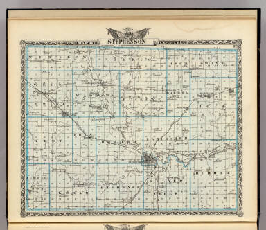 Map of Stephenson County. (Union Atlas Co., Warner & Beers, Proprietors. Lakeside Building Cor: of Clark & Adams Sts. Chicago. 1876. Entered ... 1876 by Warner & Beers ... Washington D.C.)