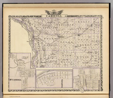 Map of Carroll County. (with) Mt. Carroll. (with) Savanna. (with) Rochelle. (Union Atlas Co., Warner & Beers, Proprietors. Lakeside Building Cor: of Clark & Adams Sts. Chicago. 1876. Entered ... 1876 by Warner & Beers ... Washington D.C.)