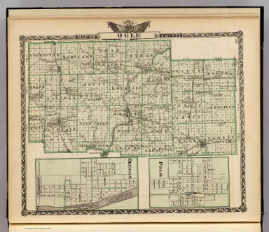 Map of Ogle County, Polo and Oregon. / Warner & Beers ; Union Atlas Co. / 1876