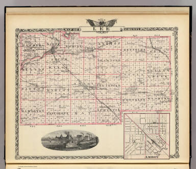 Map of Lee County. (with) Amboy. (Union Atlas Co., Warner & Beers, Proprietors. Lakeside Building Cor: of Clark & Adams Sts. Chicago. 1876. Entered ... 1876 by Warner & Beers ... Washington D.C.)