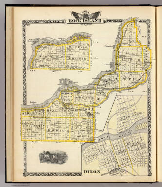 Map of Rock Island County. (with) Dixon. (Union Atlas Co., Warner & Beers, Proprietors. Lakeside Building Cor: of Clark & Adams Sts. Chicago. 1876. Entered ... 1876 by Warner & Beers ... Washington D.C.)