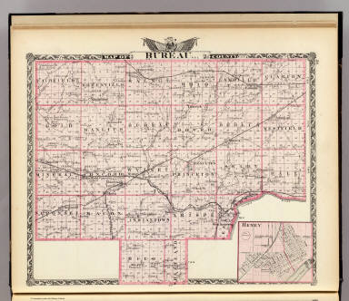 Map of Bureau County. (with) Henry. (Union Atlas Co., Warner & Beers, Proprietors. Lakeside Building Cor: of Clark & Adams Sts. Chicago. 1876. Entered ... 1876 by Warner & Beers ... Washington D.C.)