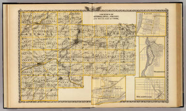 Counties of Kendall, Will, Grundy, and south park of Cook. (with) Lacon. (with) Morris. (with) Wilmington. (with) Braidwood. (Union Atlas Co., Warner & Beers, Proprietors. Lakeside Building Cor: of Clark & Adams Sts. Chicago. 1876. Entered ... 1876 by Warner & Beers ... Washington D.C.)