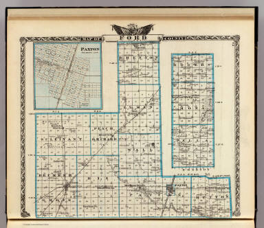 Map of Ford County. (with) Paxton. (Union Atlas Co., Warner & Beers, Proprietors. Lakeside Building Cor: of Clark & Adams Sts. Chicago. 1876. Entered ... 1876 by Warner & Beers ... Washington D.C.)